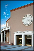 New Mexico Capitol with stone carving of the State Seal of New Mexico above entrance. Santa Fe, New Mexico, USA (color)