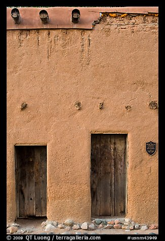 Facade detail of building considered oldest house in america. Santa Fe, New Mexico, USA (color)