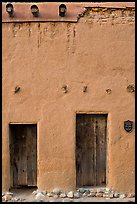 Facade detail of building considered oldest house in america. Santa Fe, New Mexico, USA