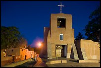 Oldest church and house in the US by night. Santa Fe, New Mexico, USA ( color)