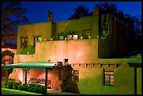 House in Spanish pueblo revival style by night. Santa Fe, New Mexico, USA (color)