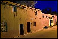 Oldest house in the US at night. Santa Fe, New Mexico, USA (color)