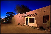Street in Bario de Analco by night. Santa Fe, New Mexico, USA