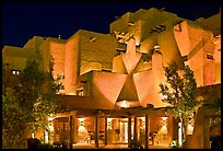 Loreto Inn by night. Santa Fe, New Mexico, USA