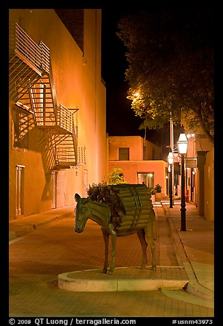 Street with sculpture by night. Santa Fe, New Mexico, USA (color)