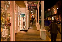 Galleries and sidewak by night. Santa Fe, New Mexico, USA