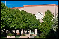New Mexico State Capitol East entrance and trees. Santa Fe, New Mexico, USA