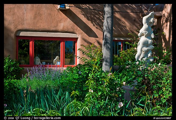 Front yard with sculpture, Canyon Road. Santa Fe, New Mexico, USA (color)