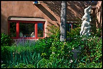Front yard with sculpture, Canyon Road. Santa Fe, New Mexico, USA ( color)