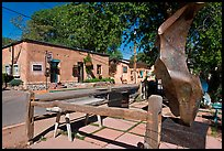 Modern sculpture and galleries on Canyon Road. Santa Fe, New Mexico, USA ( color)