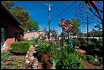 Gallery front yard with contemporary sculptures. Santa Fe, New Mexico, USA (color)