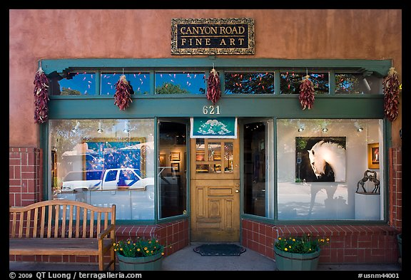 Canyon Road fine art gallery storefront,. Santa Fe, New Mexico, USA (color)