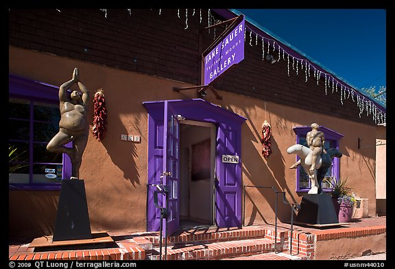Art gallery with ristras and sculptures. Santa Fe, New Mexico, USA (color)