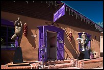 Art gallery with ristras and sculptures. Santa Fe, New Mexico, USA ( color)