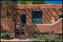House in revival pueblo style, Canyon Road. Santa Fe, New Mexico, USA (color)