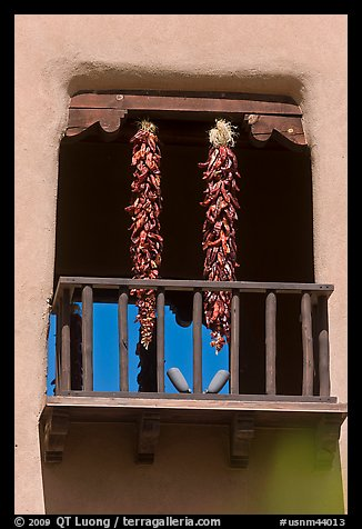 Ristras hanging from tower. Santa Fe, New Mexico, USA
