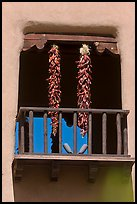 Ristras hanging from tower. Santa Fe, New Mexico, USA ( color)