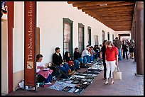 Palace of the Governors with native vendors. Santa Fe, New Mexico, USA (color)