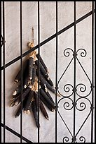 Dried black corn and ironwork. Santa Fe, New Mexico, USA