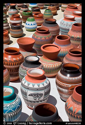 Pottery for sale. Santa Fe, New Mexico, USA (color)