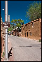 Street with Oldest House sign. Santa Fe, New Mexico, USA