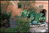 Desert plants and inscription, Church San Felipe de Neri. Albuquerque, New Mexico, USA ( color)