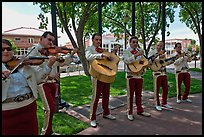 Mariachi band on old town plazza. Albuquerque, New Mexico, USA