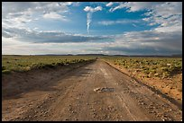 Unpaved road leading to Chaco Canyon. Chaco Culture National Historic Park, New Mexico, USA