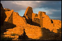 Walls at sunset, Pueblo Bonito. Chaco Culture National Historic Park, New Mexico, USA (color)