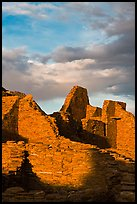 Last light on ruined walls, Pueblo Bonito. Chaco Culture National Historic Park, New Mexico, USA (color)