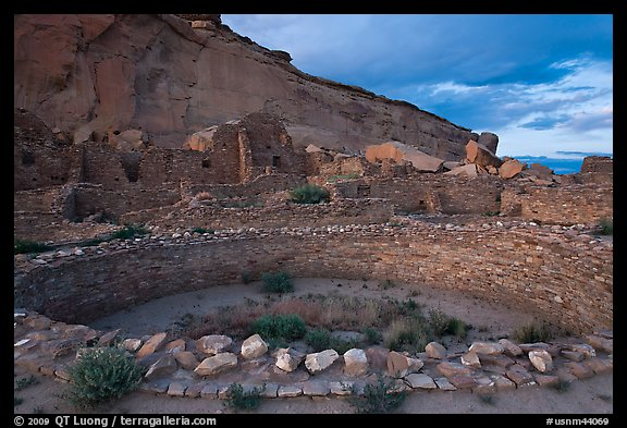 Pueblo Bonito at the foot of Chaco Canyon northern rim. Chaco Culture National Historic Park, New Mexico, USA (color)