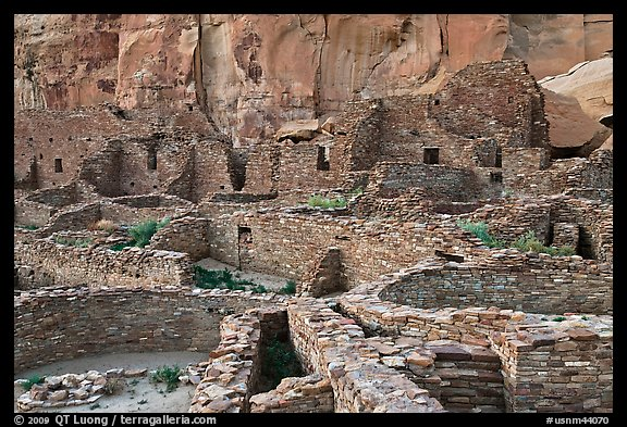 Many rooms of the Pueblo Bonito complex. Chaco Culture National Historic Park, New Mexico, USA (color)