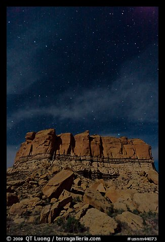 Stars over cliff. Chaco Culture National Historic Park, New Mexico, USA