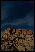 Stars over cliff. Chaco Culture National Historic Park, New Mexico, USA (color)