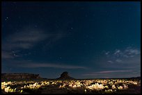 Night landscape with lighted canyon floor. Chaco Culture National Historic Park, New Mexico, USA