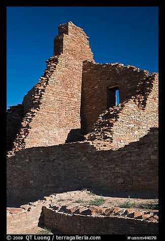 Brick walls, Pueblo Bonito. Chaco Culture National Historic Park, New Mexico, USA (color)