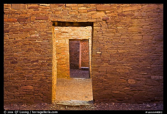 Aligned doorways. Chaco Culture National Historic Park, New Mexico, USA
