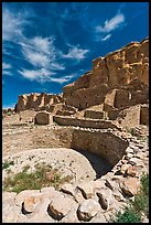 Pueblo Bonito, the largest of the Chacoan Great Houses. Chaco Culture National Historic Park, New Mexico, USA (color)