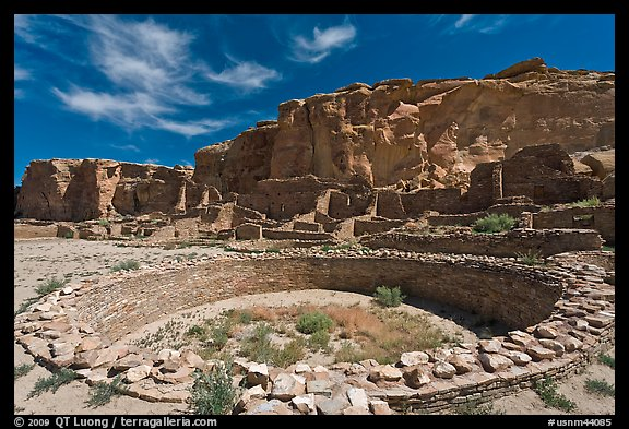 Ceremonial Kiva in Pueblo Bonito. Chaco Culture National Historic Park, New Mexico, USA (color)