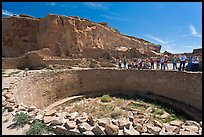 Visitors during a tour of Pueblo Bonito. Chaco Culture National Historic Park, New Mexico, USA (color)