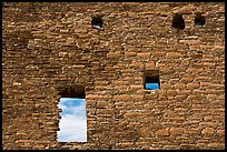 Masonery wall with openings. Chaco Culture National Historic Park, New Mexico, USA