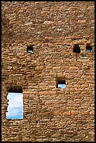 Sky seen from masonery wall windows. Chaco Culture National Historic Park, New Mexico, USA (color)