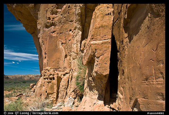 Canyon walls with petroglyphs. Chaco Culture National Historic Park, New Mexico, USA (color)