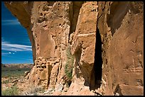 Canyon walls with petroglyphs. Chaco Culture National Historic Park, New Mexico, USA ( color)
