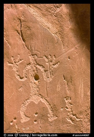 Rock graphics of a man. Chaco Culture National Historic Park, New Mexico, USA (color)