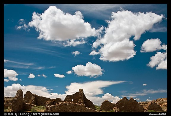 Pueblo Del Arroyo and clouds. Chaco Culture National Historic Park, New Mexico, USA (color)