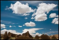 Pueblo Del Arroyo and clouds. Chaco Culture National Historic Park, New Mexico, USA