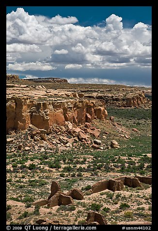Chetro Ketl and cliffs. Chaco Culture National Historic Park, New Mexico, USA (color)