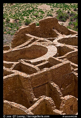 Rooms of Pueblo Bonito seen from above. Chaco Culture National Historic Park, New Mexico, USA (color)