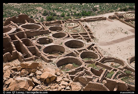 Rooms, kivas, and plaza from above  Pueblo Bonito. Chaco Culture National Historic Park, New Mexico, USA (color)